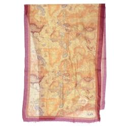 Alviero Martini 義大利地圖 經典地圖航海圍巾 暗紅/地圖黃
