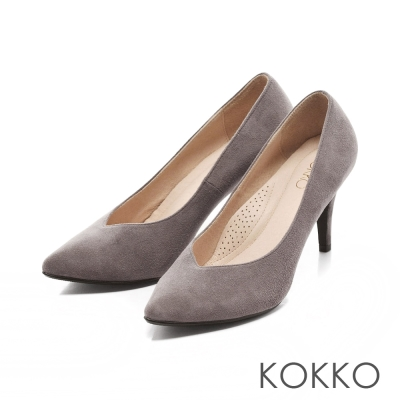 KOKKO-經典尖頭麂皮高跟鞋-優雅灰