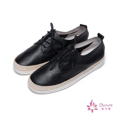 達芙妮DAPHNE 休閒鞋-全真皮草編平底鞋-黑