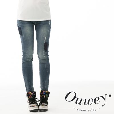 OUWEY歐薇-復古補丁窄管丹寧長褲