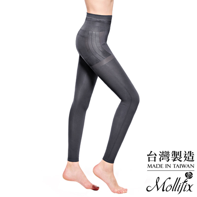 Mollifix 3D極型拉提直紋9分塑身褲 (時尚灰)
