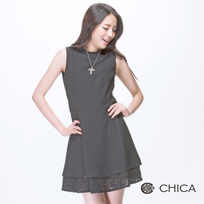 CHICA 弧領收腰無袖蕾絲層次襬洋裝(2色)
