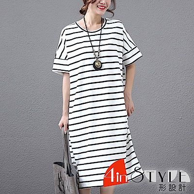 經典雙色條紋圓領中長款T恤 (共四色)-4inSTYLE形設計