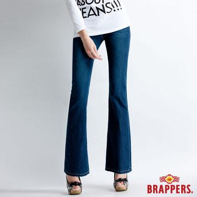 BRAPPERS 新美腳Royal系列-女用天絲棉鑲鑽小喇叭褲-藍