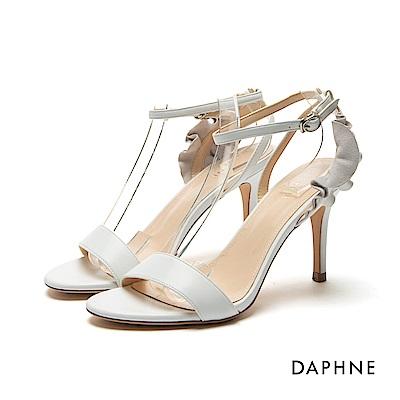 達芙妮DAPHNE 涼鞋-荷葉邊飾片一字高跟涼鞋-白