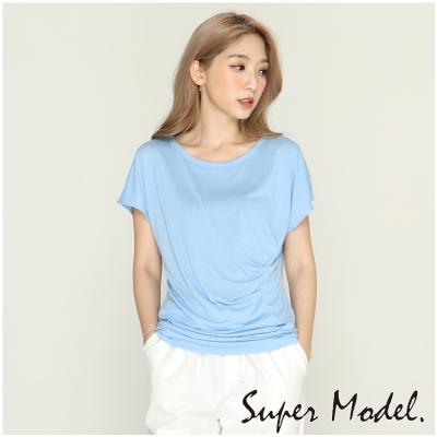 純色腰線抓皺造型上衣-藍色(F可選)    名模衣櫃