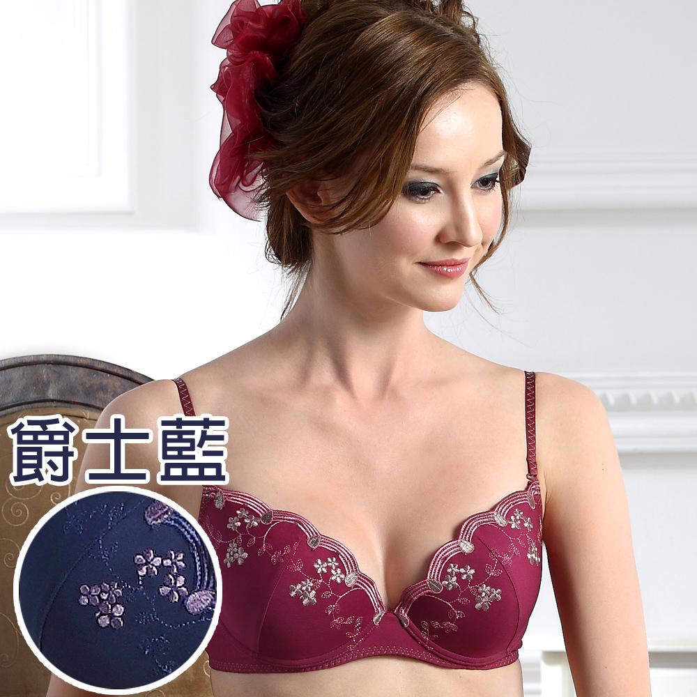 思薇爾 PANS BRA 花典系列C-D罩刺繡內衣(爵士藍)