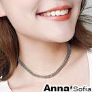 【2件399】AnnaSofia 層排珠鍊 鎖骨單層頸鍊CHOKER(銀系)