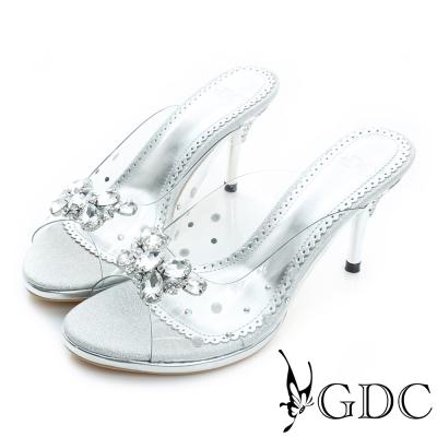 GDC-性感寶石水鑽蝴蝶高跟涼拖鞋-銀色