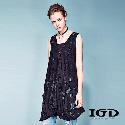 IGD英格麗-星形縷空針織長版外罩背心-黑色
