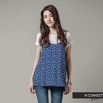 H:CONNECT 韓國品牌 女裝 - 兩件式碎花細肩上衣 - 藍(快)