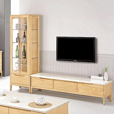 Bernice-米倫8尺實木L型石面電視櫃組合(展示櫃+長櫃)-240x42x186cm
