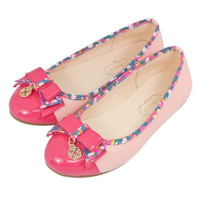 Swan天鵝童鞋-韓式花布風格娃娃鞋8628-粉