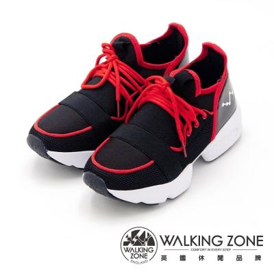 WALKING ZONE 彈力內增高潮流 女鞋-黑