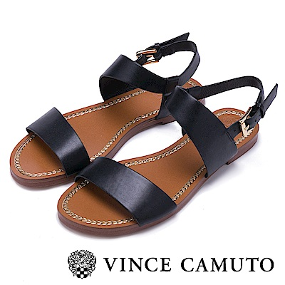 Vince Camuto 渡假休閒素色一字平底涼鞋-黑色