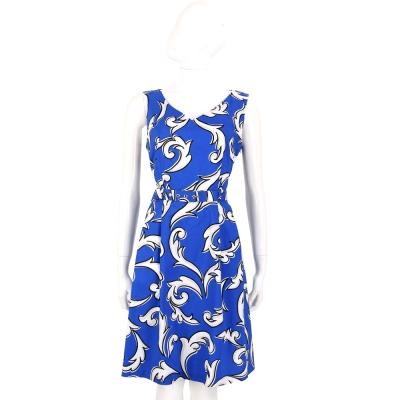 BOUTIQUE MOSCHINO 藍色圖騰印花V領無袖洋裝(附腰帶)