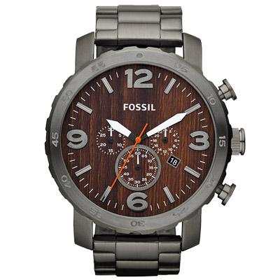 FOSSIL 大世紀戰神三眼計時腕錶-咖啡/50mm