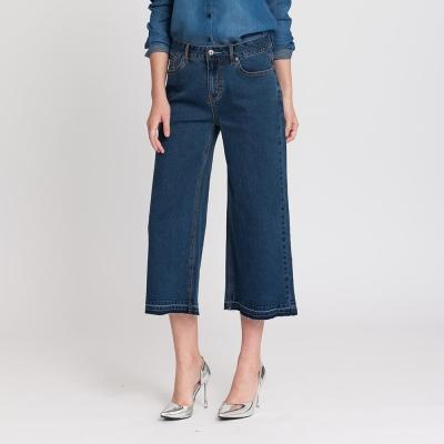 Hang-Ten-女裝-經典刷色寬擺牛仔褲