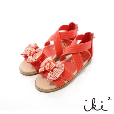iki2童鞋-可愛鑽飾蝴蝶結彈性交叉涼鞋-亮橘紅