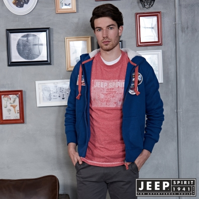 JEEP 都市冒險經典休閒刷毛外套 -藍色