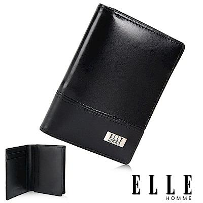 福利品 ELLE 法式水波紋系列 零錢/證件/名片格多層設計中夾- 黑色