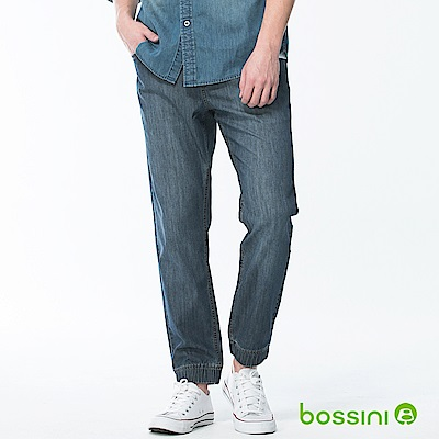 bossini男裝-牛仔束口長褲靛藍