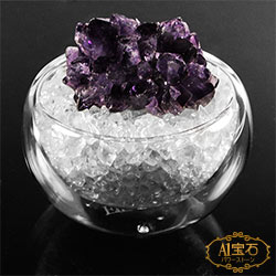 A1寶石 日本頂級天然紫水晶/白水晶聚寶盆-招財轉運居家風水必備(含開光加持)
