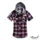 ROUSH 女生可拆式連帽貼布格紋襯衫 (3