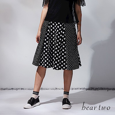 beartwo 精彩變化圓點過膝裙(黑色)