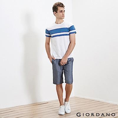 GIORDANO 男裝純棉抽繩鬆緊腰休閒短褲-69 海軍藍細紋