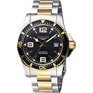 LONGINES浪琴 征服者300米64小時動力儲存潛水機械錶-黑x雙色版/41mm