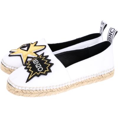 KENZO K-Patch Espadrilles 金眼睛補丁草編便鞋(女款/白色)
