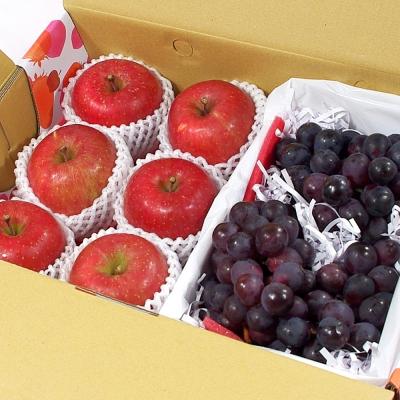 鮮果日誌 - 甜蜜禮讚葡萄禮盒(日本蜜蘋果6入+葡萄2.5台斤)