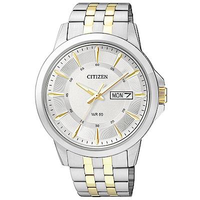 CITIZEN星辰 復古風尚雙色調夜光石英男錶(BF2018-52A)-白/41mm