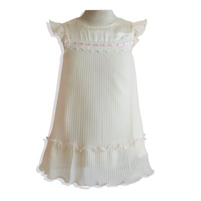 氣質百摺網紗蕾絲緞帶洋裝*米