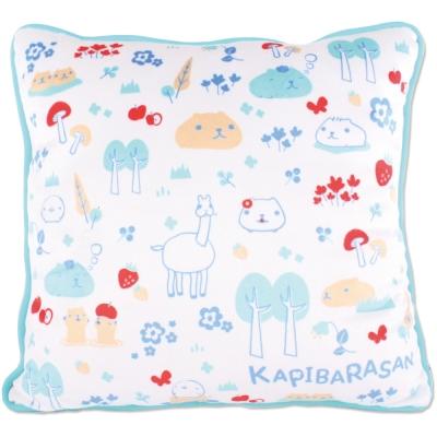 kapibarasan水豚君北歐系列絨毛抱枕藍色