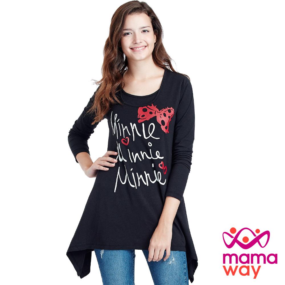 Mamaway 迪士尼米妮蝴蝶結長版波浪下擺孕哺乳上衣