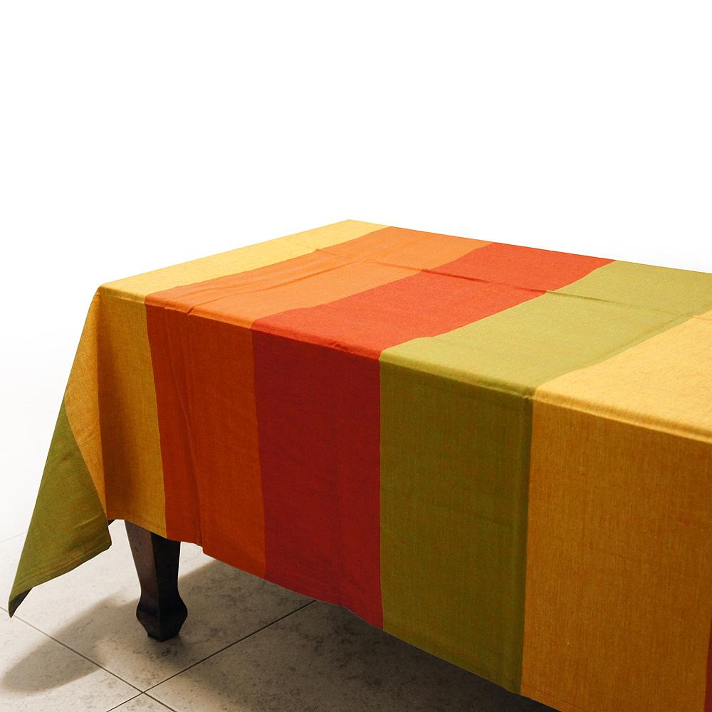 布安於室-色塊純棉桌巾-橘紅色系