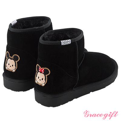 Disney collection by grace gift徽章電繡短筒雪靴米奇黑