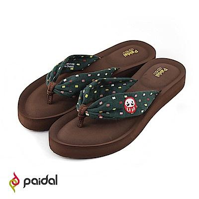 Paidal夏夜祭典不倒翁布綁帶厚底氣墊美型拖-綠