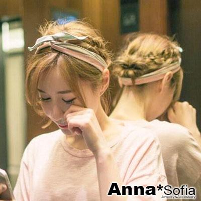 AnnaSofia 淡雅條紋 軟布質兔耳髮帶髮圈(綠粉條紋)