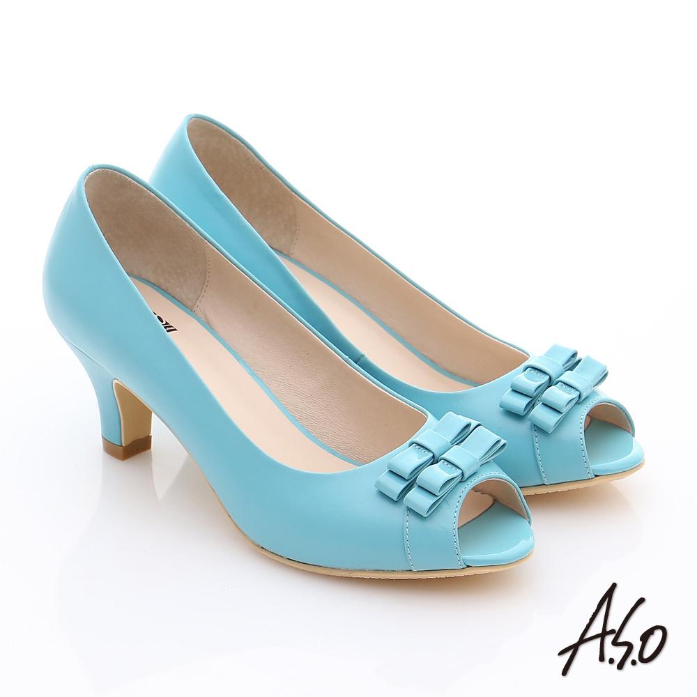 A.S.O 氣質名媛 全真皮蝴蝶魚口高跟鞋 淺藍