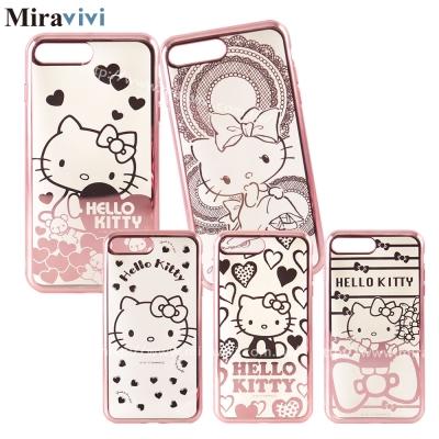 三麗鷗iPhone 8/7 Plus時尚質感電鍍雷雕手機殼-Kitty