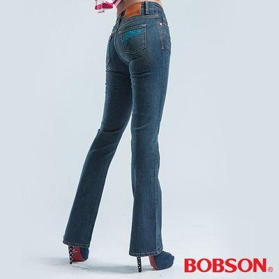 BOBSON 低腰伸縮小喇叭褲-藍色