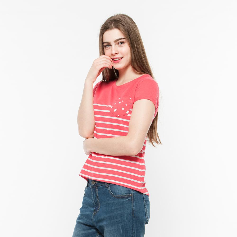 Hang Ten - 女裝 - 星星口袋條紋T-Shirt - 粉