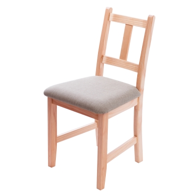 CiS自然行實木家具- 南法實木餐椅(溫暖柚木色)淺灰色椅墊