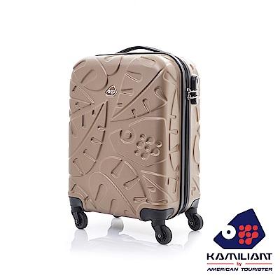 卡米龍20吋體羽毛圖騰防刮四輪硬殼TSA行李箱咖啡