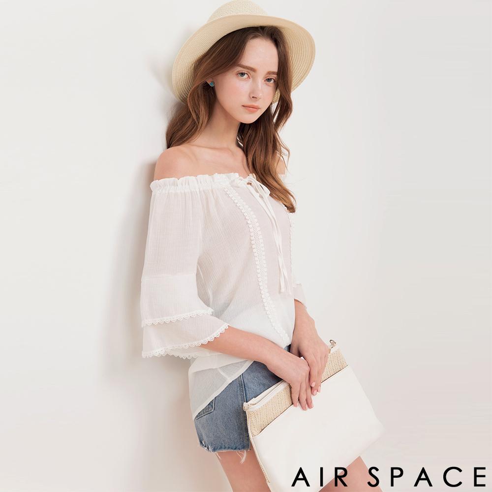 AIR SPACE 雙層荷葉袖ㄧ字領長版上衣(白)