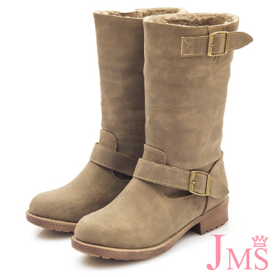 JMS-造型2WAY內刷毛可翻摺工程中靴-卡其色