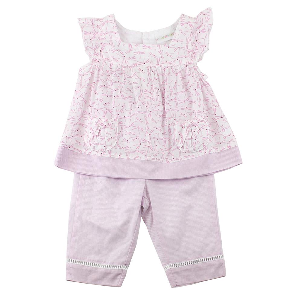 愛的世界 純棉蜻蜓兩件式無袖長褲套裝/6M~3歲